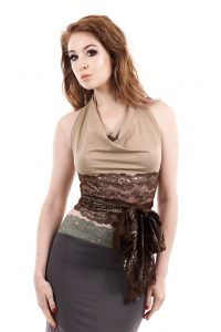 gilded marzipan wrap top  poema clothing