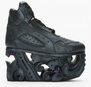 ktz black black leather carved sole platform sneakers product    large flex