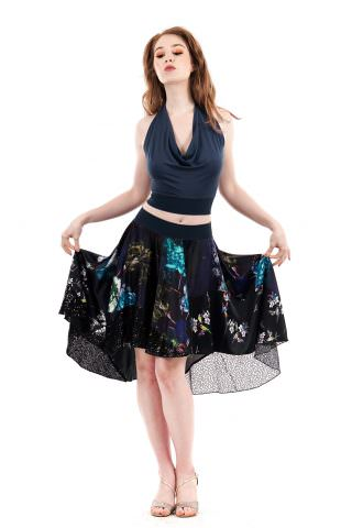 midnight garden circle skirt  poema clothing